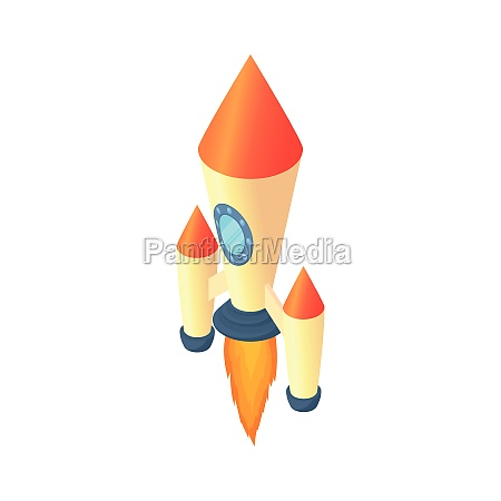 two stage rocket icon cartoon style