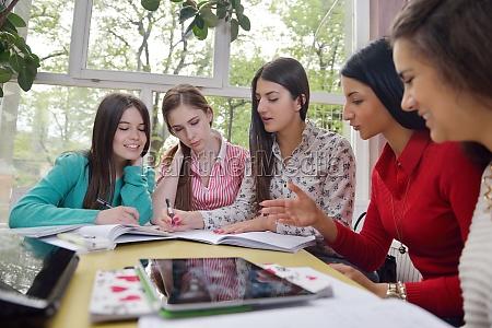 teens group in school