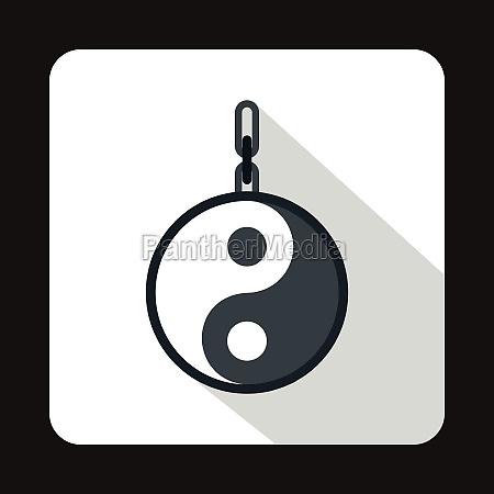 amulet of yin yang icon flat
