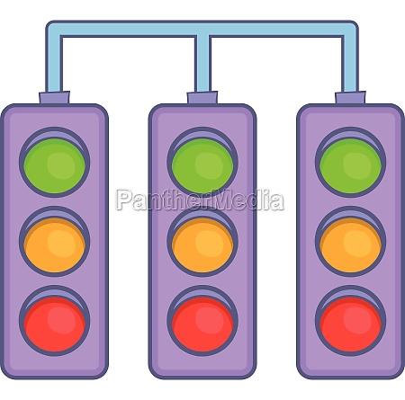 racing traffic lights icon cartoon style