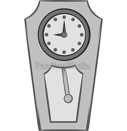 large wall clock icon black monochrome