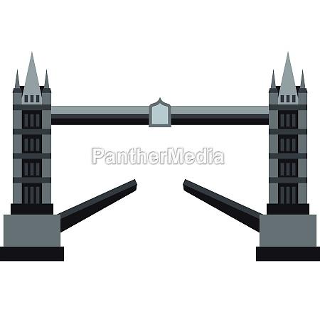 tower bridge icon flat style