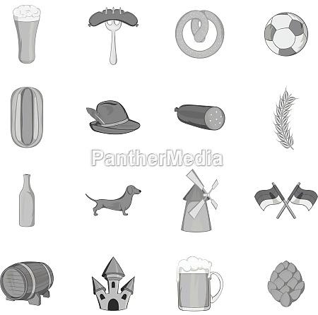 germany icons set black monochrome style