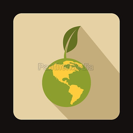 globe with green leaf icon flat