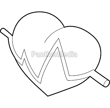 heart beat pulse icon outline style