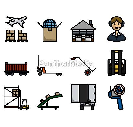 logistics icon set