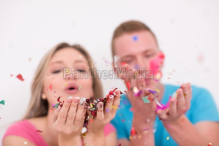 romantic couple celebrating