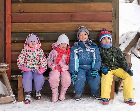 little children group sitting together
