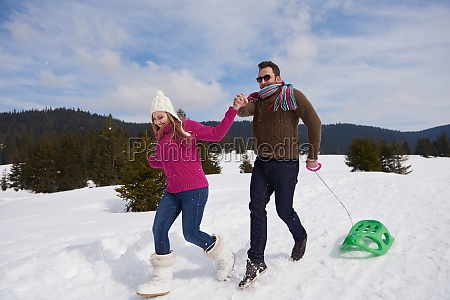 happy young couple having fun on