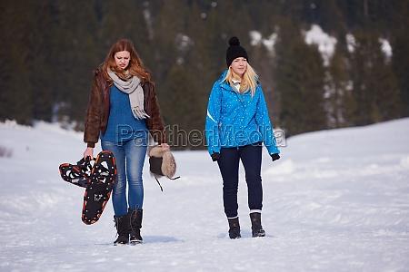 female friends in beautiful winter day