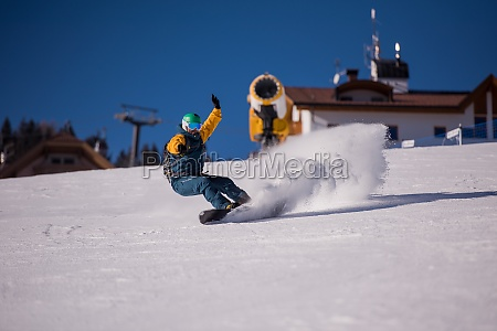 snowboarder running down the slope and