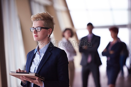 business woman at office with
