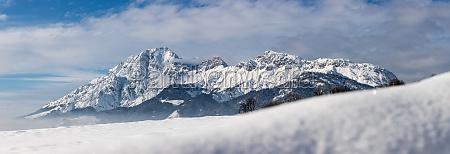 idyllic snowy mountain peaks landscape alps