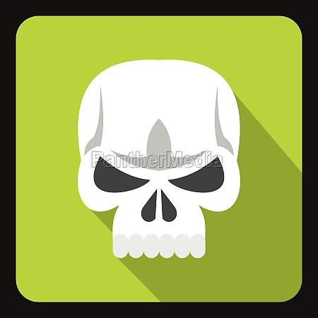 human skull icon flat style