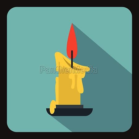 burning candle icon flat style