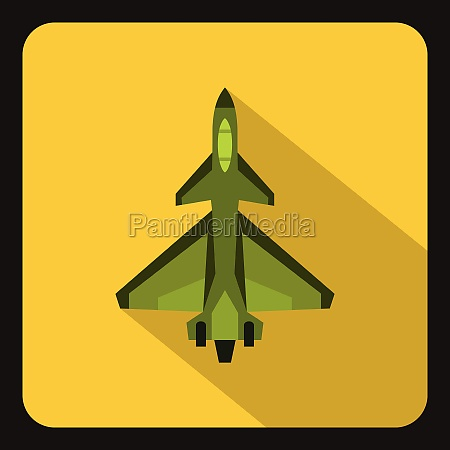 military fighter jet icon flat style