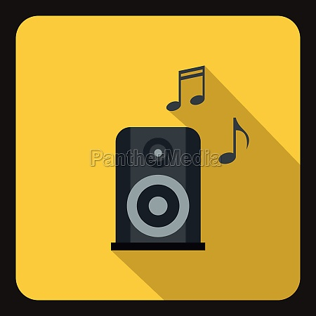 music speaker and notes icon flat