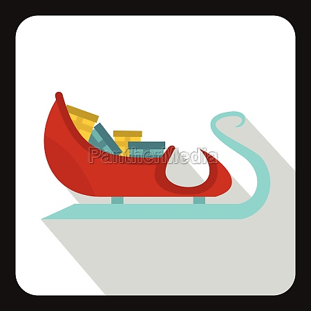 santa claus sleigh with gifts icon