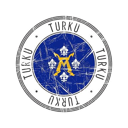 turku city postal rubber stamp