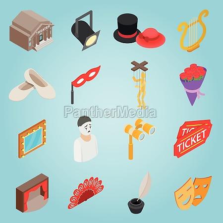 theatre set icons isometric 3d style