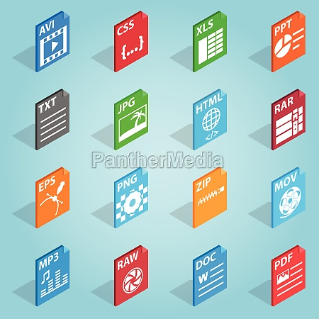 file format set icons isometric 3d