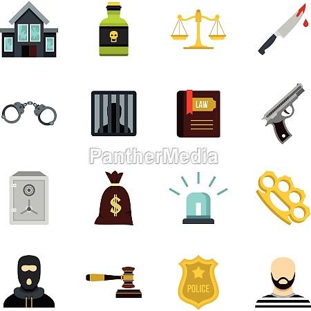 crime and punishment icons set flat