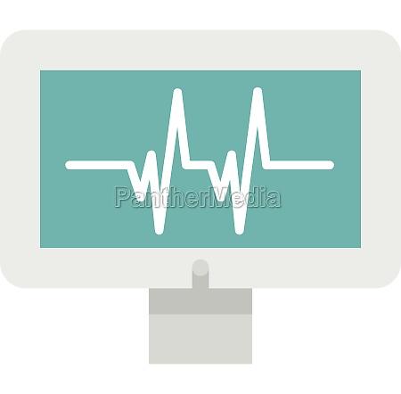 monitor heartbeat icon flat style