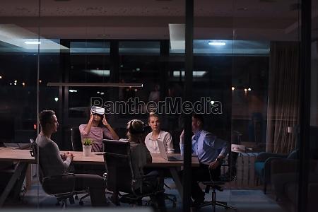multiethnic business team using virtual reality