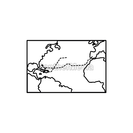 columbus voyage map icon outline style