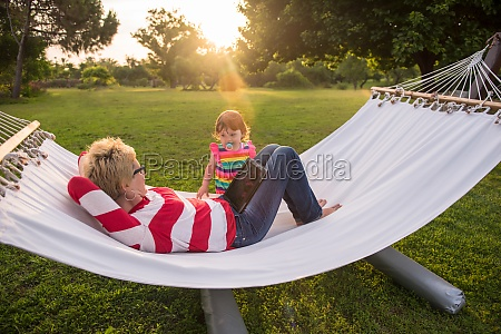 mom and a little daughter relaxing