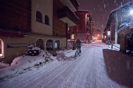 snowy streets of the alpine mountain