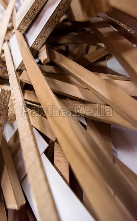 cut wood pieces remaining from carpenter