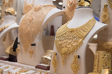 gold jewelry in the shop window