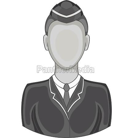 woman train conductor icon black monochrome