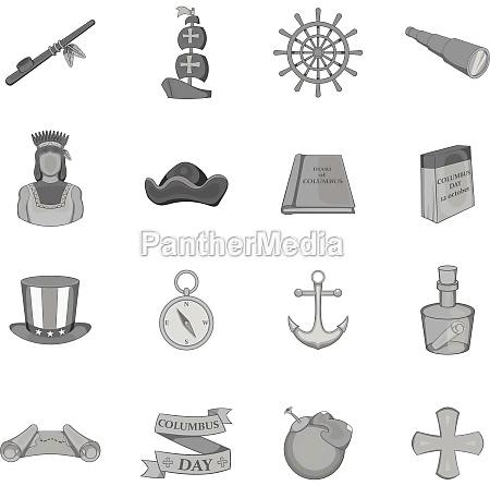 columbus day icons set black monochrome