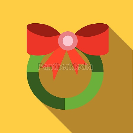 christmas wreath with red bow icon