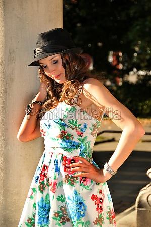 dreamy beauty girl in a summer