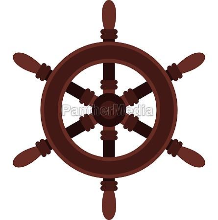 wooden ship wheel icon flat style