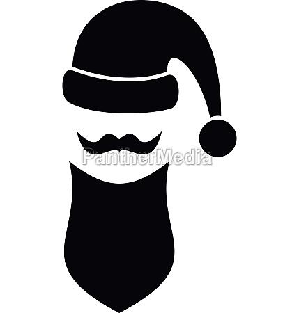 santa hat mustache and beard simple
