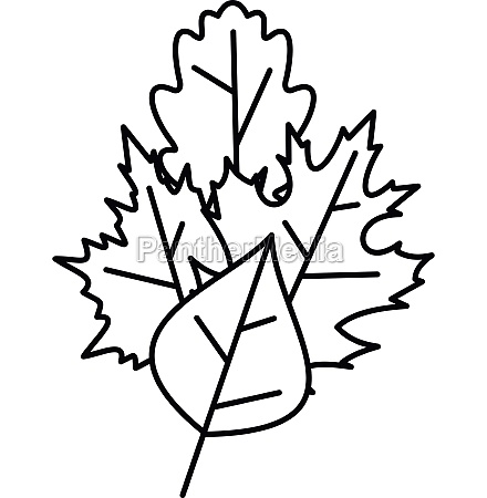 leaves icon outline style