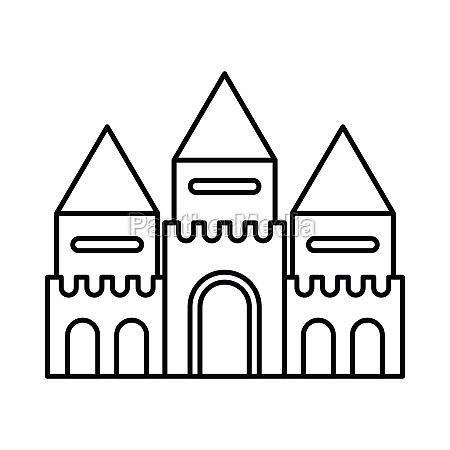 fairy tale castle icon outline style