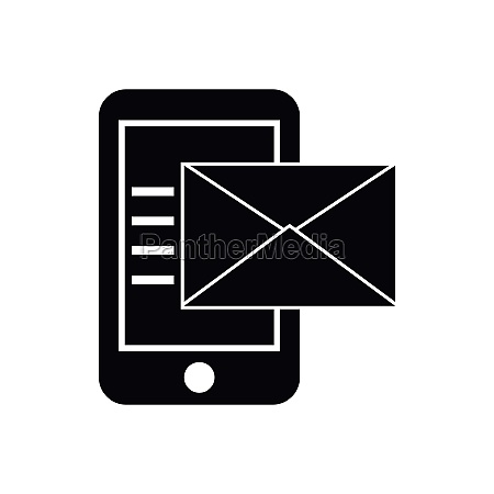 smartphone with envelope icon simple style