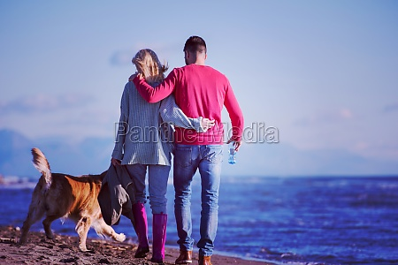 couple with dog having fun on