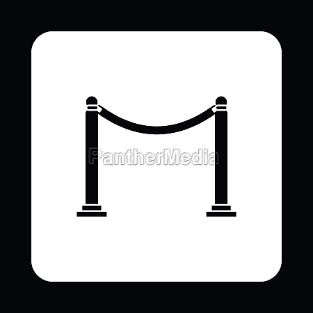 barrier rope icon in simple style