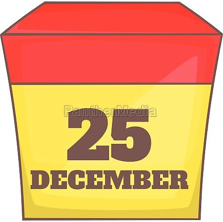 calendar with christmas date icon cartoon