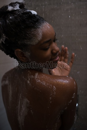 african american woman in the shower