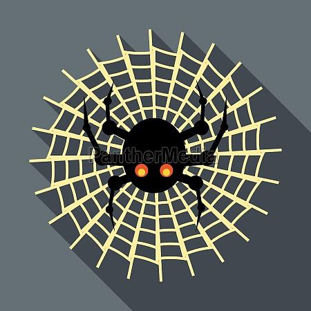 spider on cobweb icon flat style