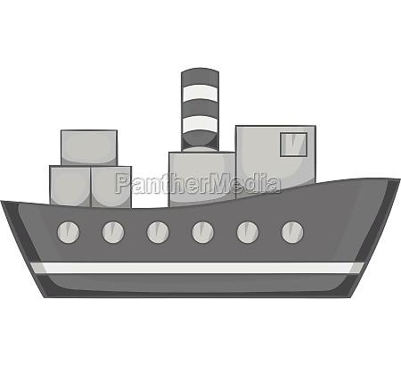 cargo ship icon black monochrome style
