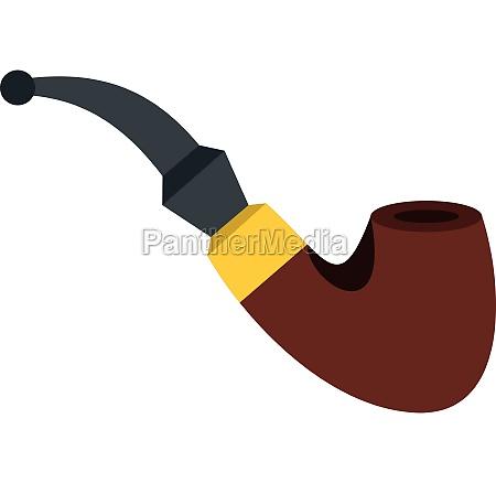 smoking pipe icon flat style
