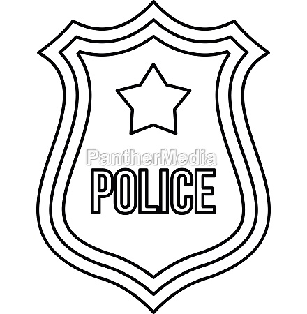 police shield badge icon outline style